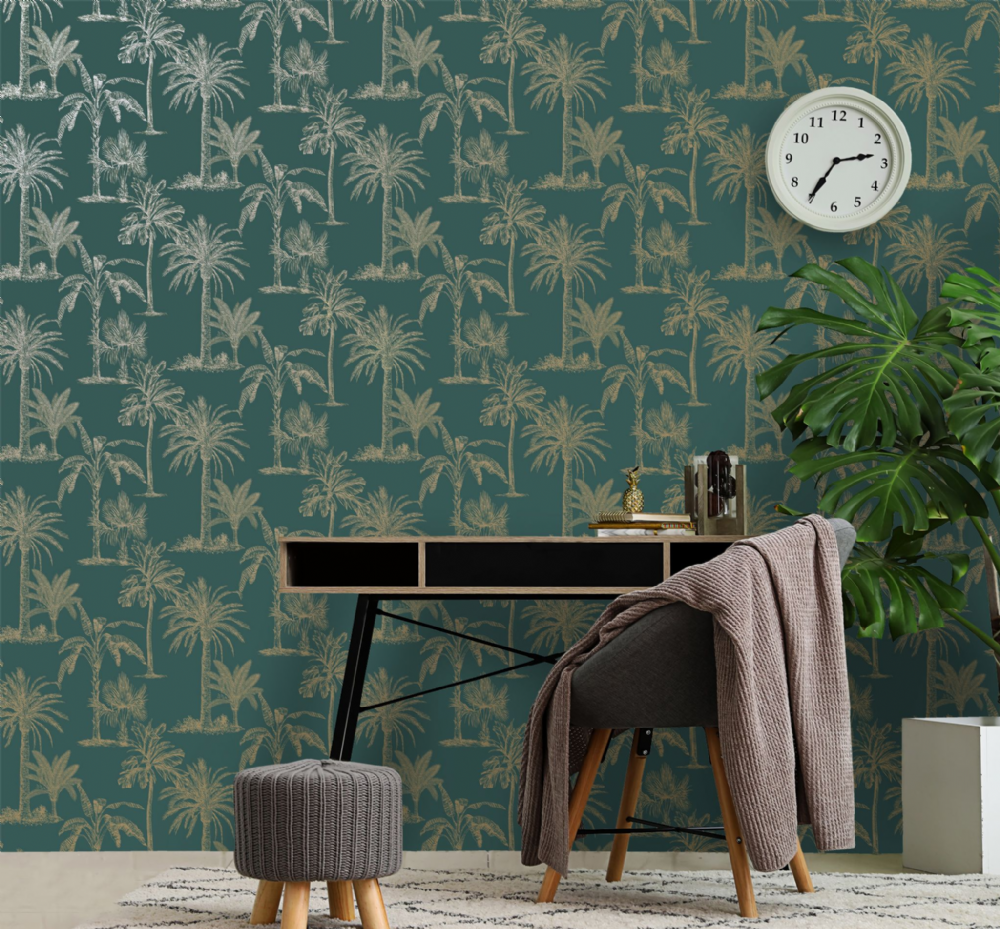 Holden Decor Glistening Tropical Tree Teal 12820 Wallpaper